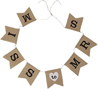 Pixnor Miss to Mrs Natural Burlap Banner for Party Decoration
