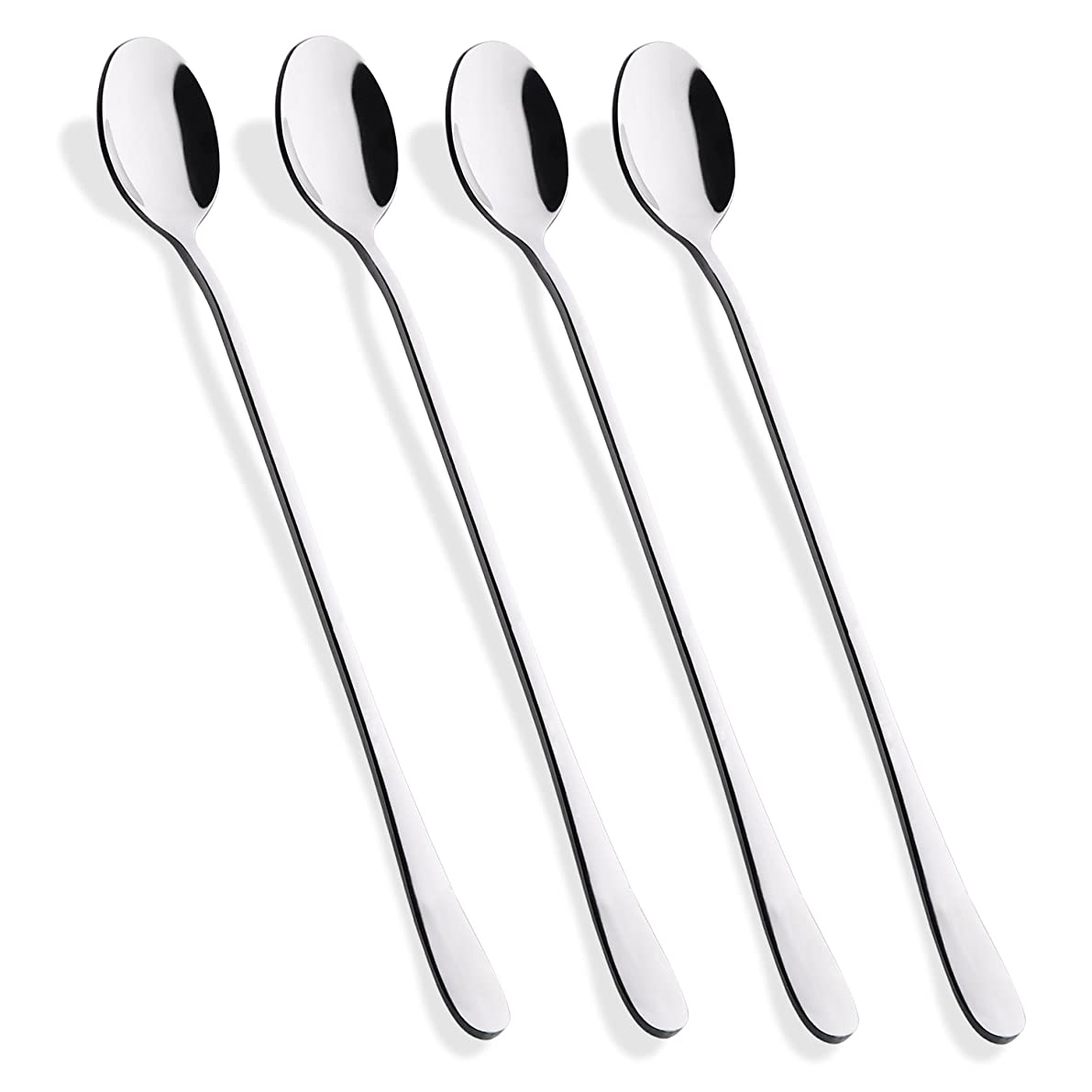 Hiware 9-Inch Long Handle Iced Tea Spoon, Coffee Spoon, Ice Cream Spoon, Stainless Steel Cocktail Stirring Spoons, Set of 4