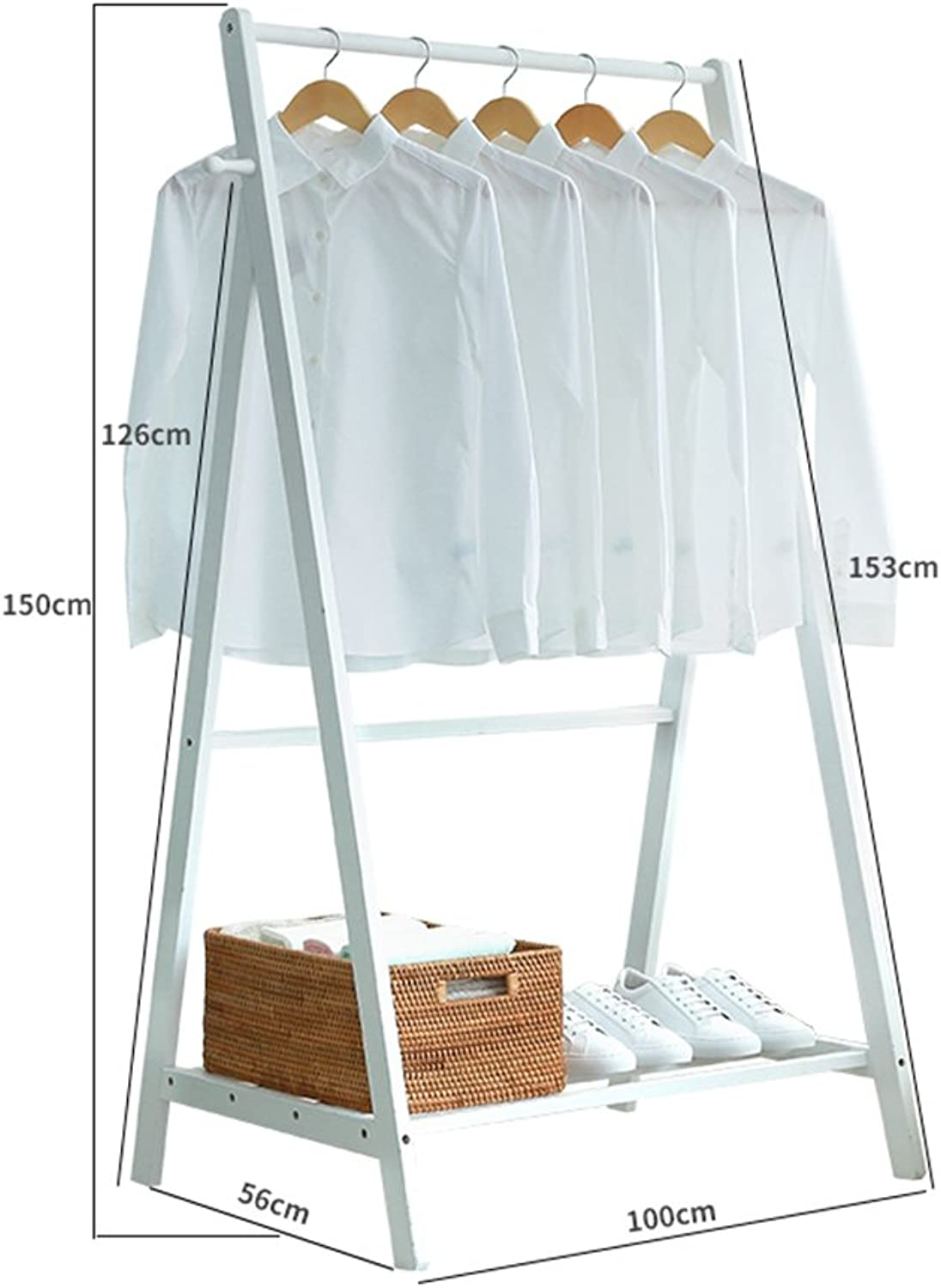 ZHIRONG Coat Rack Multifunction Floor-Standing Bamboo Clothes Rack Storage Rack Wardrobe shoes Rack (color   White, Size   100  153CM)