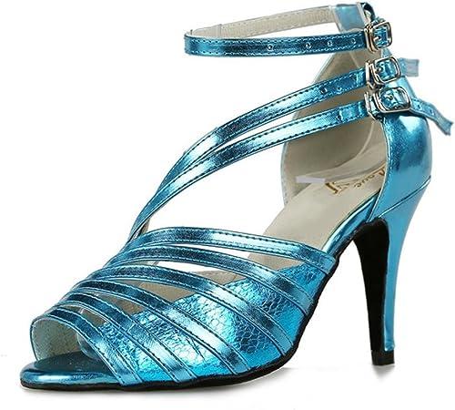 Sandales de danse chaussures femmes cuir salsa latine samba tango ballroom open toe soft soles boucle bleu thin talons hauts