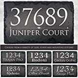 """Beautifully Handcrafted and Customizable Slate Home Address Plaque (16'x10', 18'x8', 12""""x8""""or 12'x6') Improve the curb appeal of your property with this bespoke house sign."""