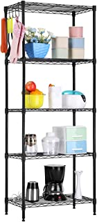 LANGRIA 5 Tier Shelving Units Storage Rack Supreme Wire Shelving Organization, Black