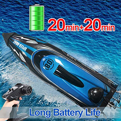 HONGXUNJIE 2.4Ghz RC Boat- 20+ MPH High Speed Remote Control Boat for Adults and Kids for Lakes and Pools with 2 Rechargeable Batteries, Low Battery Alarm, Capsize Recovery (Blue)