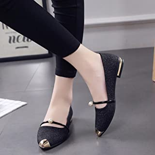 Hemlock Low Heel Flat Shoes, Women Comfortable Slippers Dress Sandals Shoes Pointed Toe Oxford Shoes