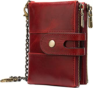 LIMING Men's Short Section Leather Wallet Retro Chain 2 Fold Wallet Card Holder Buckle Clutch,Size:12 * 2 * 8.5cm,Colour:J...