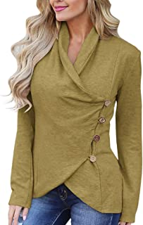fa22fa2167fdda TheRang Womens Casual Long Sleeve V Neck Tops Button Side Tunic Solid Color  T Shirts