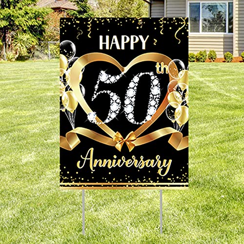 50th Wedding Anniversary Yard Sign Outdoor Decoration, Gold 50th Anniversary Lawn Sign with Stakes for Happy 50th Year Party Supplies