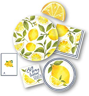 Lemon Sunshine Yellow Party Supply Pack for 16 -Dinner & Dessert/Appetizer Paper Plates with 48 Napkins by Amscan