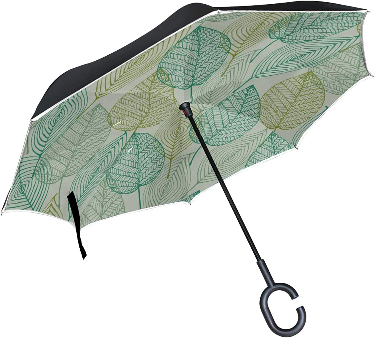 Double Layer Ingreened Leaf Green Leaf color Plant Spring Vitality Natural Embroidery Umbrellas Reverse Folding Umbrella Uv Predection Straight Umbrella for Car Rain Outdoor with CShaped Handle