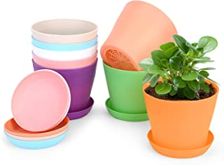 FALUCKYY Plastic Flowerpot,3 Set of Flowerpots and Saucers Indoor Plant Pot with Drain Holes Pink, Blue, White