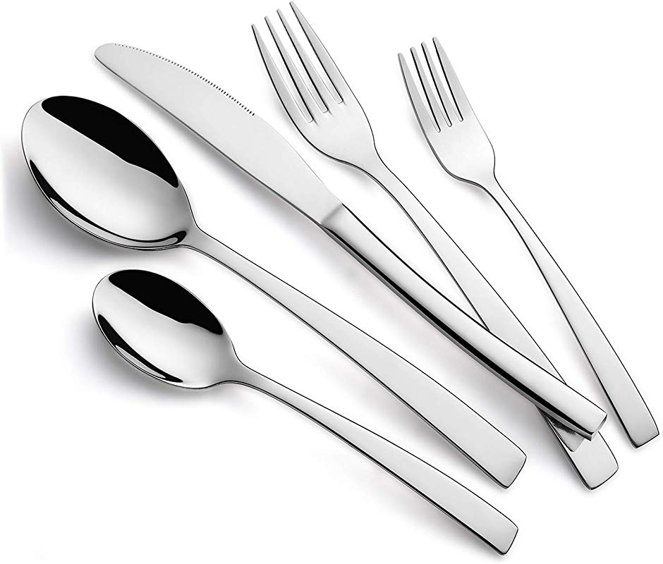 Ferfil Silverware Sets 40 Piece Stainless Steel Flatware Cutlery Tableware Set Service For 8 Include Knife Fork Spoon Mirror Polished Dishwasher Safe