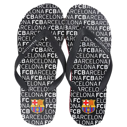 Chanclas oficiales FCBarcelona color negro, letras blancas para hombre. Zapatillas playa y piscina - Sandalias de Goma. Futbol Club Barcelona. Barça zapatillas edición limitada