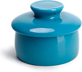 Sweese 317.107 Butter Crock Keeper with Water Line, French Butter Dish - Holds Up to 4oz East and West Coast Butter - Perfect Spreadable - Porcelain, Steel Blue