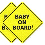 Baby On Board Sticker Sign - Essential for Cars - 2 Pack, 5' by 5' - Bright Yellow and SEE-THROUGH when Reversing - Best Safety Signs - No Need for Suction Cup or Magnets - Durable and Strong Adhesive