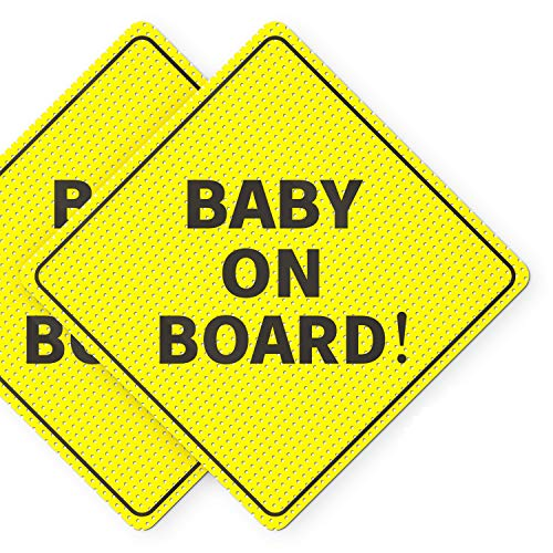 """Baby On Board Sticker Sign - Essential for Cars - 2 Pack, 5"""" by 5"""" - Bright Yellow and SEE-THROUGH when Reversing - Best Safety Signs - No Need for Suction Cup or Magnets - Durable and Strong Adhesive"""