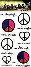 PP TATTOO 1 Sheet Peace Sign Symbol Hippie Retro Boho Flower Power Weed Love Tattoos Holiday Cartoon Tattoo Stickers Patterns Temporary Body Art Fake for Kids Boys Girls Teens
