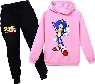 Silver Basic Niños Sudadera con Capucha y Pantalones Traje Sonic The Hedgehog Sudadera con Capucha para Niños Juego Disfra...