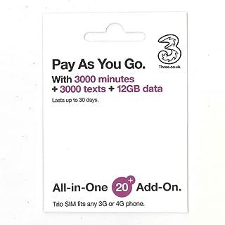 フランス SIM Three フランス他約60地域 30日データ12GB イギリス国内データ12GB/通話3000分 コミコミパック(日本語オリジナルマニュアル付)