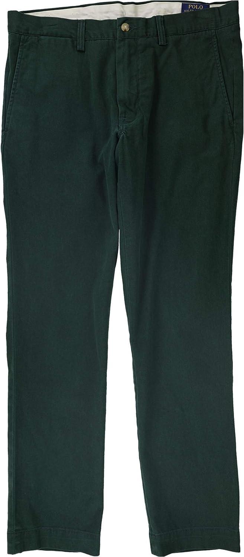 Ralph Lauren Mens Solid Casual Chino Pants, Green, 33W x 30L