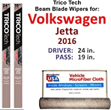 Beam Wiper Blades for 2016 Volkswagen Jetta Driver & Passenger Trico Tech Beam Blades Wipers Set of 2 Bundled with Bonus MicroFiber Interior Car Cloth