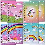 TE-Trend 8 Stück Einhorn Regenbogen Notizblock Kinder Spiralblock Schreibblock Mitgebsel Mädchen 38 Blatt 75x104mm Mehrfarbig
