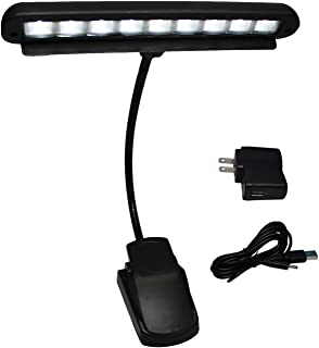 Vshinic music stand light,music stand led light clip on, piano light 9 LED Rechargeable USB Book Lights Adjustable Neck Reading Light Desk Lamp