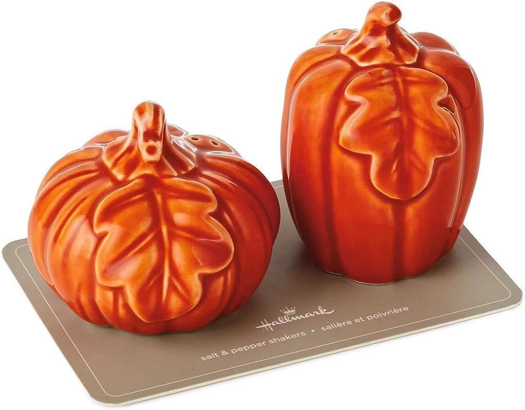 Hallmark Ceramic Pumpkin Salt And Pepper Shakers Set Of 2