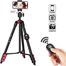 ZOMEi Phone Tripod, Cell Phone Tripod 54 inch Travel Tripod with Bluetooth Remote Cellphone Holder 360 Panorama Ball Head for Camera GoPro/Mobile Cell Phone iPhone Xs/Xr/Xs Max/X/8/Galaxy Note 9