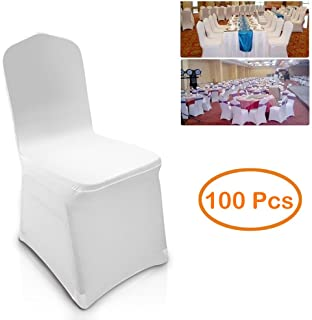 100pcs Universal White Spandex Chair Covers Slipcover for Wedding Supply Party Banquet Decoration (US Stock) (100 Pcs)