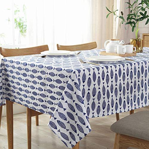 Nappe en Lin Style Méditerranéen Européen Bleu Petit Poisson Motif Nappes De Fête De Mariage Décoration De La Maison Couverture De Table Lavable Table Protecteur ((140x200cm(55x79 inch))