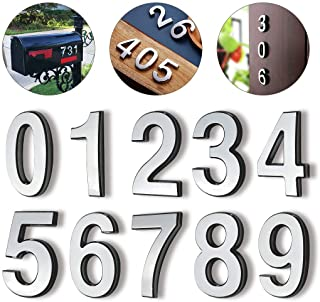 """Hopewan Self Adhesive Mailbox Numbers, Door Numbers, Address Number Stickers for Apartment, 2.75"""" High, 3D Raised Style, Pack of 10, Chrome Plated, Silver Shiny.(2.75"""" 10 Pack (0-9), Silver)"""