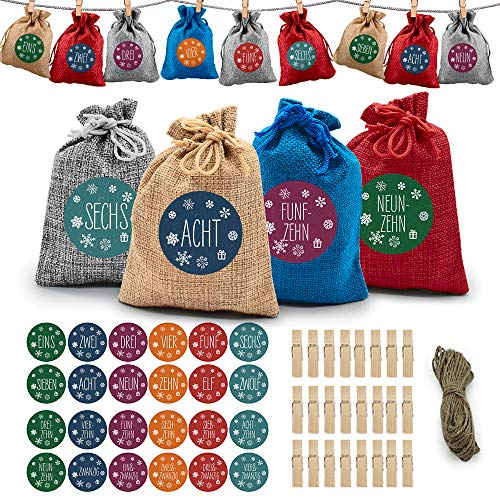 Adventskalender zum Befüllen, DIY Weihnachts-Adventskalender Befüllen, Countdown-Adventskalender-Füllungen Mit 24 Aufklebern, Kordelzug-Taschen Als Geschenk, Weihnachtsdekoration, Süßigkeiten