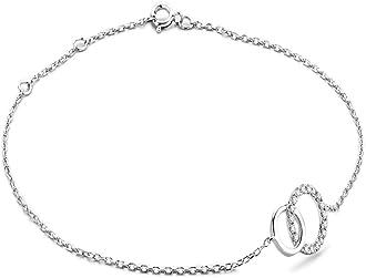 Miore Bracciale Donna con Catena, Diamanti taglio Brillante ct 0.08 Oro Bianco 9 Kt / 375 cm 18