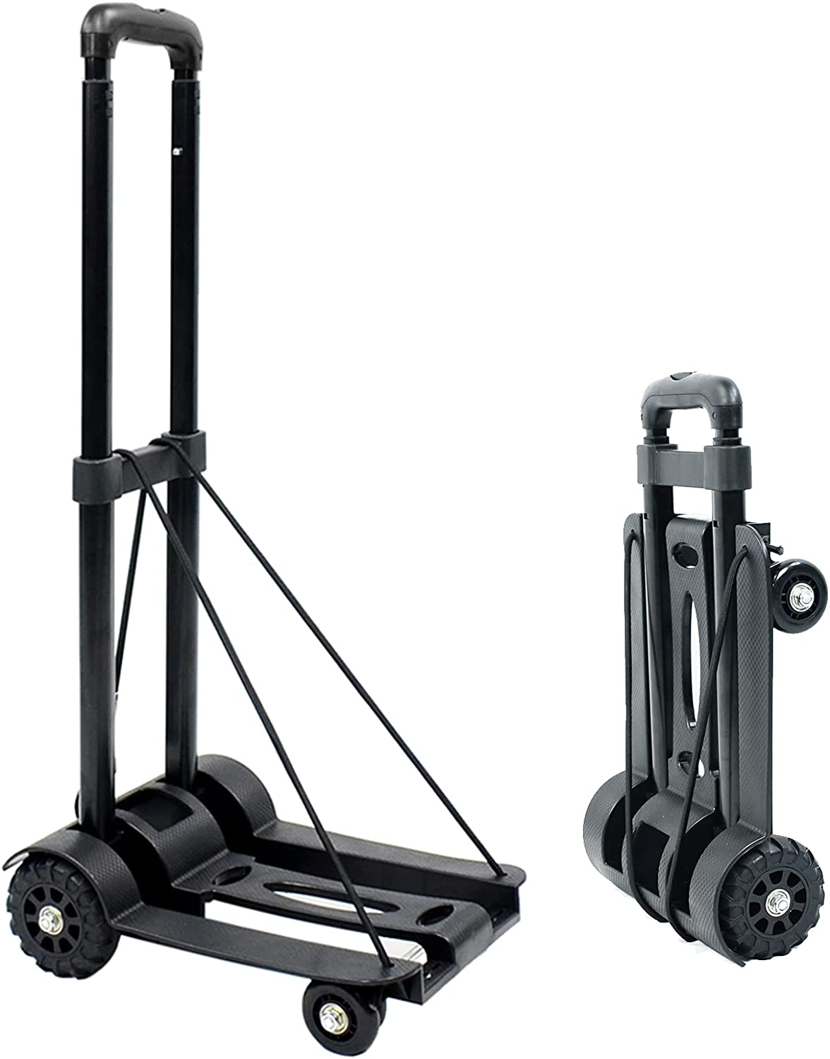 MAYQMAY 165bs/75KG 4 Wheels Compact Folding Portable Luggage Cart Trolley Cart Folding Hand Truck, with Binding Belt for Shopping, Camping, Fishing, Carrying Travel Goods, Garden Utilty, Black