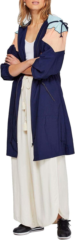 Free People Womens Hooded Colorblock Windbreaker Jacket