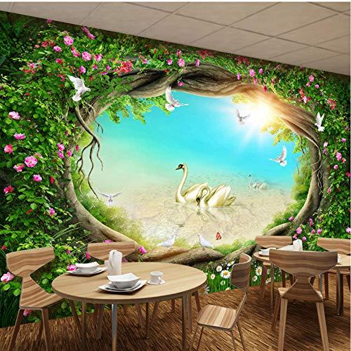 Guokaixyz Fotobehang Foto Wallpaper 3D Fantasy sprookjes boswan muurschildering woonkamer tv achtergrond muurschildering slaapkamer jongen vlies 300x210cm
