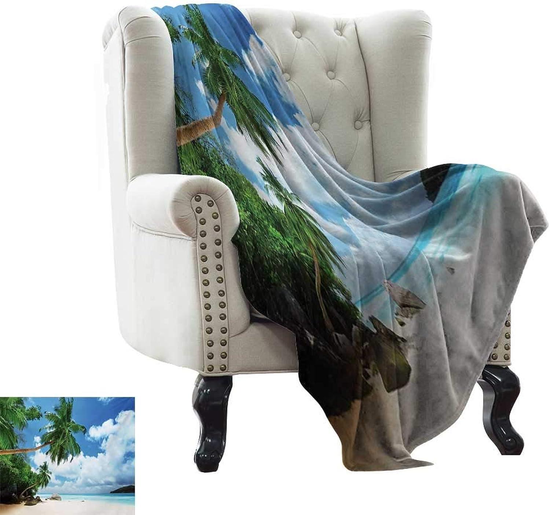 Lightweight Blanket Ocean Beach and Coconut Tree Mahe Island in Seychelles Tranquil Coastal Image Print Print Summer Quilt Comforter W35 x L60 Inch Green bluee Aqua