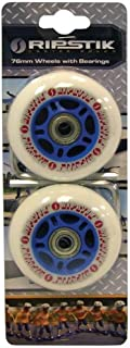 Razor RipStik Caster Board Genuine Replacement Wheels (Set of 2) Color: BLUE 76mm with ABEC-5 Bearings with Active Energy Power & Balance Necklace $49 Value
