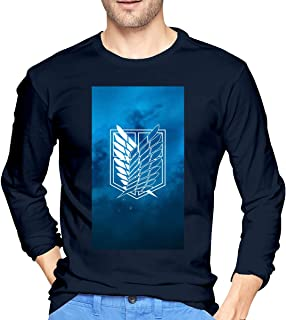 STDONE New Tee Shirt Attack On Titan Scout Regiment Logo Long Sleeves T-Shirt for Men Black
