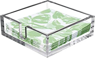 CY craft Acrylic Lunch Napkin Holder,Table Top Decorative Napkin Tray for Dining Table and Kitchen,Clear Luncheon Napkin Holder Tissue Dispenser, Horizontal Display,7.1 x 7.1 x 2.6 inches