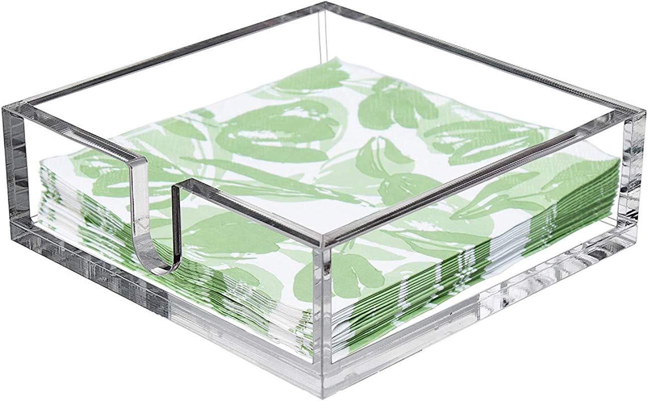 CY Craft Acrylic Lunch Napkin Holder Table Top Decorative Napkin Tray For Dining Table And Kitchen Clear Luncheon Napkin Holder Tissue Dispenser Horizontal Display 7 1 X 7 1 X 2 6 Inches