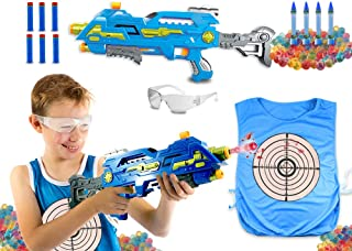 The Patriot Water Bead Gun, Orbeez Shooter with Water Color Change Vest and Safety Goggles, Gel Ball Pistol, 2 in 1 Orbs and Foam Dart Blaster Kids Paintball Alternative (Blue XL100)