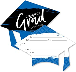 Blue Grad - Best is Yet to Come - Shaped Fill-in Invitations - Royal Blue Graduation Party Invitation Cards with Envelopes - Set of 12