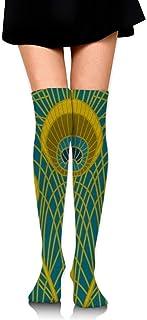 Calcetines de tubo hasta la rodilla para niñas estampados de plumas de pavo real de dibujos animados lindos de las mujeres sobre el muslo medias largas largas