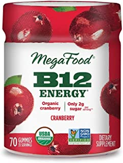 MegaFood, Certified Organic B12 Energy Cranberry Gummies, Soft Chew Vitamin B12 Supplement for Cellular Energy Support, Ve...
