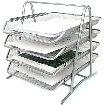 Wire Mesh Letter Tray 4 Tier Filing Trays Holder Office Desktop Document A4 Paper File Storage Desk Organiser Mesh Filling Home Office School Scratch-resistant Stacking Supports Silver