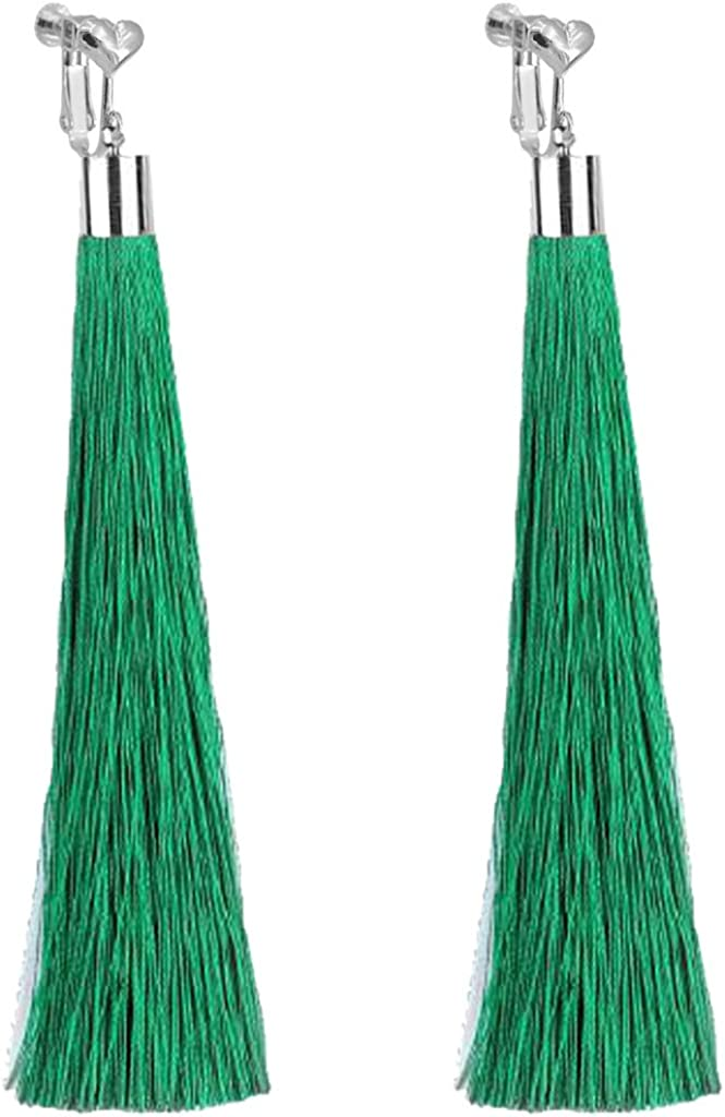 Bohemian Green Super Long Special Campaign Tassel Clip Gir on Max 49% OFF Earrings Dangle For