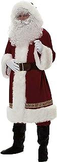 Kaizizi Jultomtedräkt för män 5 st. Jul vuxen jultomten kostym för män skägg, jul klassisk flanell cosplay kläder