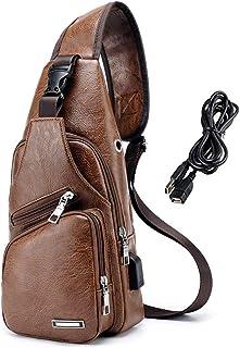 کوله پشتی چرمی سیلو چرمی مردان SUzufly PU کوله پشتی با شانه کوچک با کابل USB شارژر برای دوچرخه سواری پیاده روی سفر