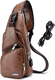 Men PU Leather Sling Backpack Small Chest Shoulder Crossbody Bag with USB Charging Port for Travel Hiking Cycling